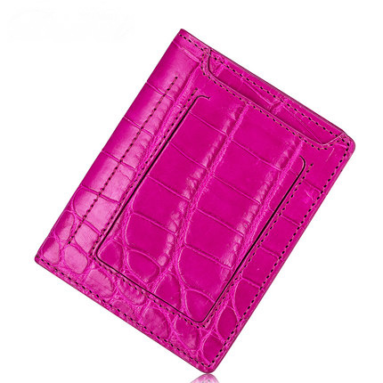 Porte-cartes en cuir en peau de crocodile véritable fait main de luxe à deux volets porte-monnaie en peau de crocodile