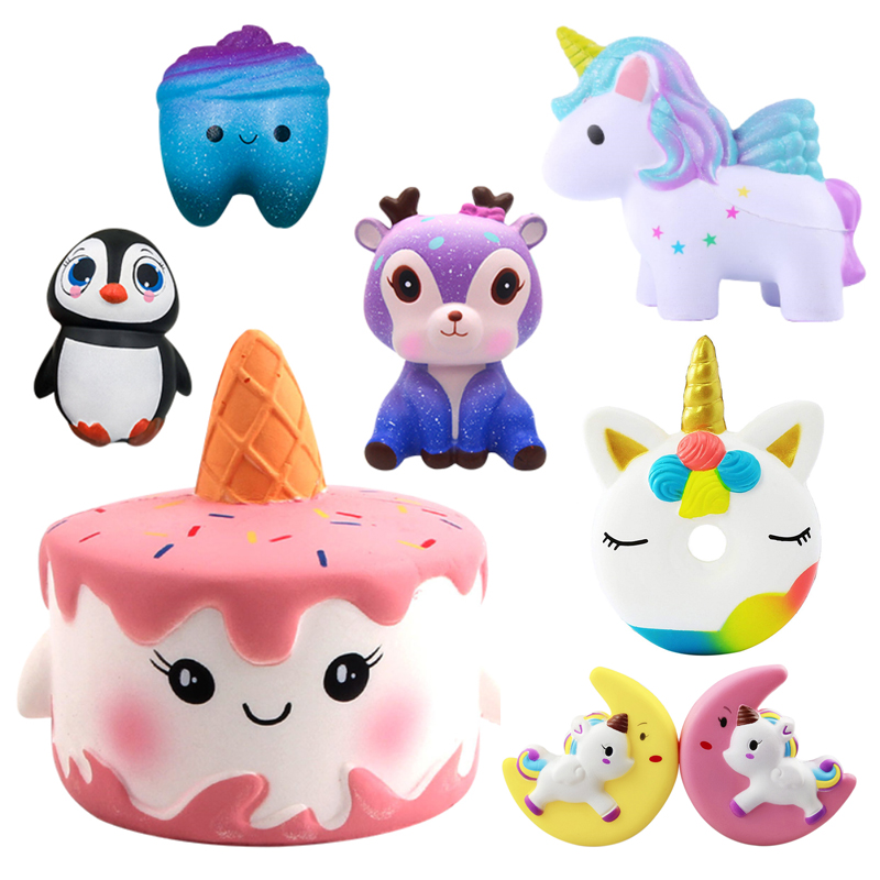 Squishy Toy Cartoon Ice Cream Cat Starry Deer Squishy Slow Rising Cream Scented Toy Kids Squish Anti Stress Toy Stress Reliever