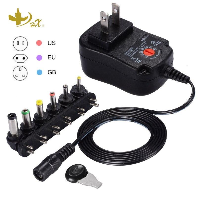 HX Multifunctional Charger Adapter, Output Voltage Adjustable Power, 100-220V To 3V 4.5V 5V 6V 7.5V 9V 12V, Universal UK EU US