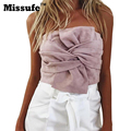 Missufe 2017 Bow Tie Suede Sexy Backless Crop Tops Party Blouses Off Shoulder Strapless Back Zipper Women Shirts Blusas
