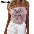 Missufe 2017 gravata borboleta de camurça sensuais topos de culturas sem encosto partido blusas fora do ombro strapless voltar zipper mulheres camisas blusas