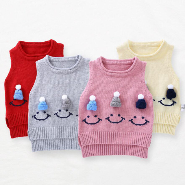 ec8c9436e Cute Baby Sweater Waistcoat Baby Girl Vest Smile Hat Baby Boy Outfit ...