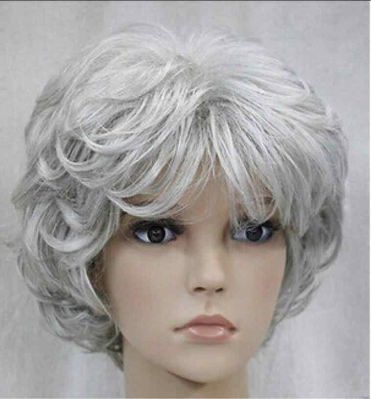 WIG Fashion Cosplay Silver Gray Short Curly Women Female Lady Wigs Free Shipping