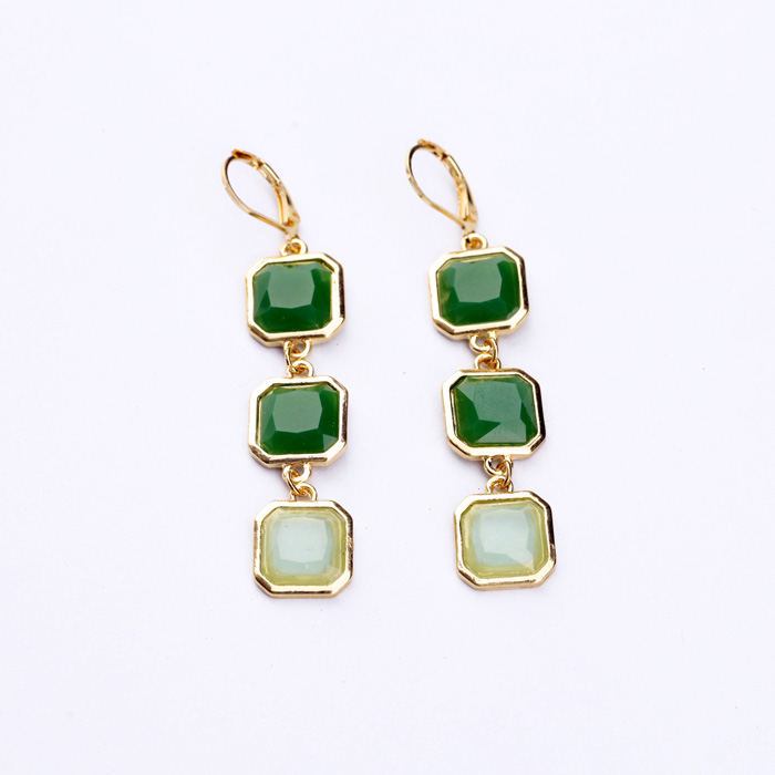 Antique Gold Color Jewelry Inlay Crystal Stone Green Earrings