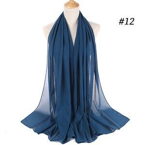 Image 5 - Простой пузырьковый шифоновый хиджаб платок шарф для женщин 2019, однотонные длинные шали и накидки, мусульманские хиджабы, шарфы, женский платок для женщин