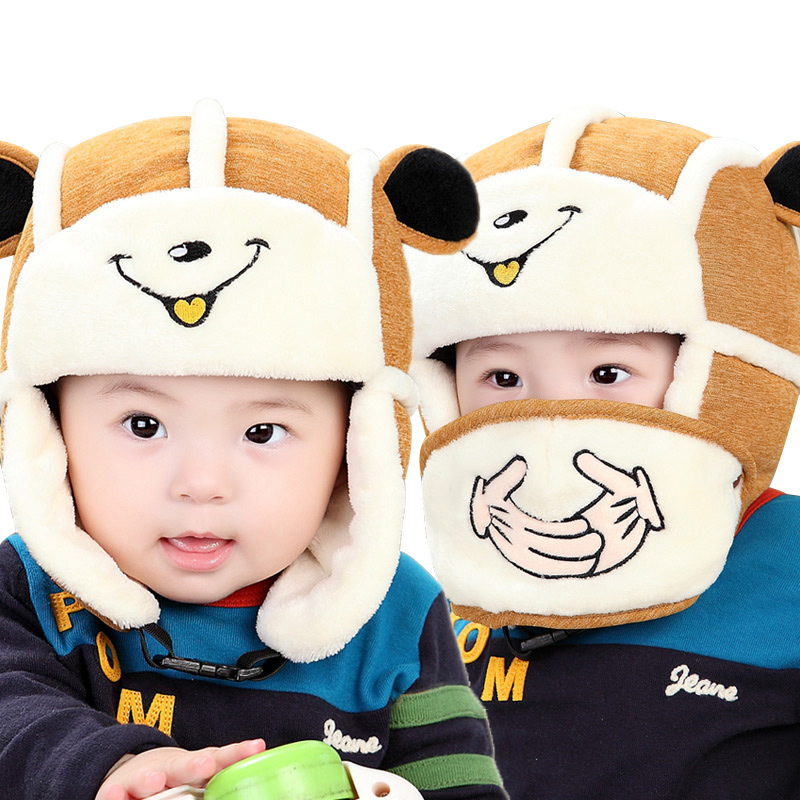 Smile Cute Baby Bomber Hat Velvet Warm Winter Hat With Breathable Mask Bear Ears Cotton Baby Beanie For Boys Soft Baby Girls Hat