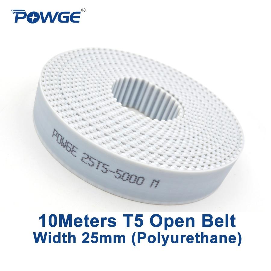 POWGE 10Meters PU T5 Open synchronous belt width 25mm Polyurethane steel Trapezoid T5-25mm open Timing Belts pulley 3D printerPOWGE 10Meters PU T5 Open synchronous belt width 25mm Polyurethane steel Trapezoid T5-25mm open Timing Belts pulley 3D printer
