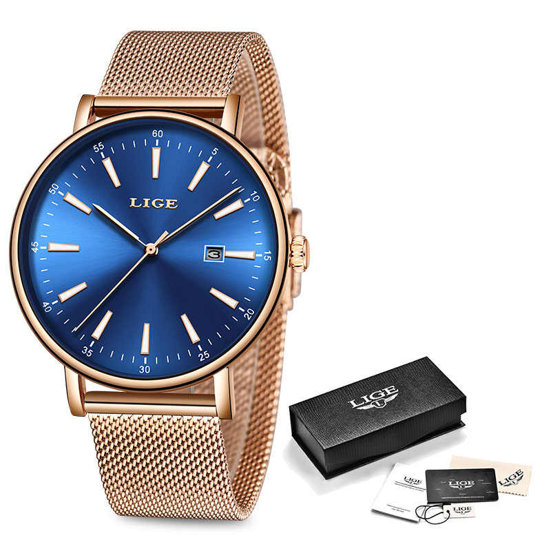 LIGE นาฬิกาข้อมือสตรีแฟชั่นสแตนเลสนาฬิกาควอตซ์ผู้หญิงนาฬิกาข้อมือนาฬิกากันน้ำ Relogio Feminino 2019