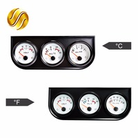 52mm Car Guage Voltage Oil Temperature Oil Press Gauges 3 In 1 Kit Black Holder Car