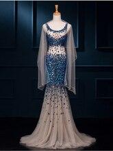 Vestido de festa longo de formatura luxo DM 2017 Moldeado Cristalino Negro African Girl Prom Vestidos Sirena Vestido de Noche Del Partido