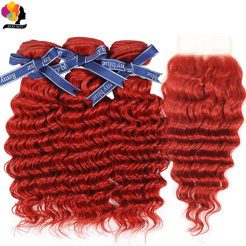 Remyblue 3 Deep Wave Bundles With Lace Closure Red Burgundy Malaysian Hair Bundles With Closure Remy