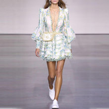 Женское кружевное платье с бахромой дизайнерское подиумное Повседневное