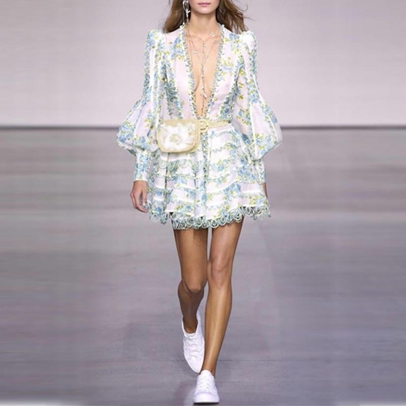 2018 Designer Runway Dress Summer Women V collar Lantern sleeve Floral Print Charming Printed Lace Fringe Casual