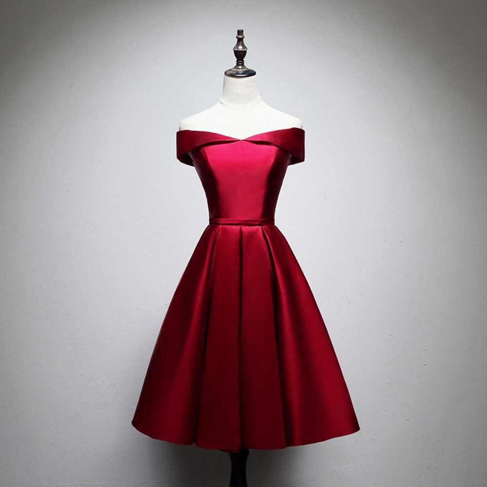 ANGELSBRIDEP תמונה אמיתית קצר שמלה לנשף בורגונדי שמלת אונליין סאטן פורמליות מסיבת חתונת שמלות קוקטייל שמלה