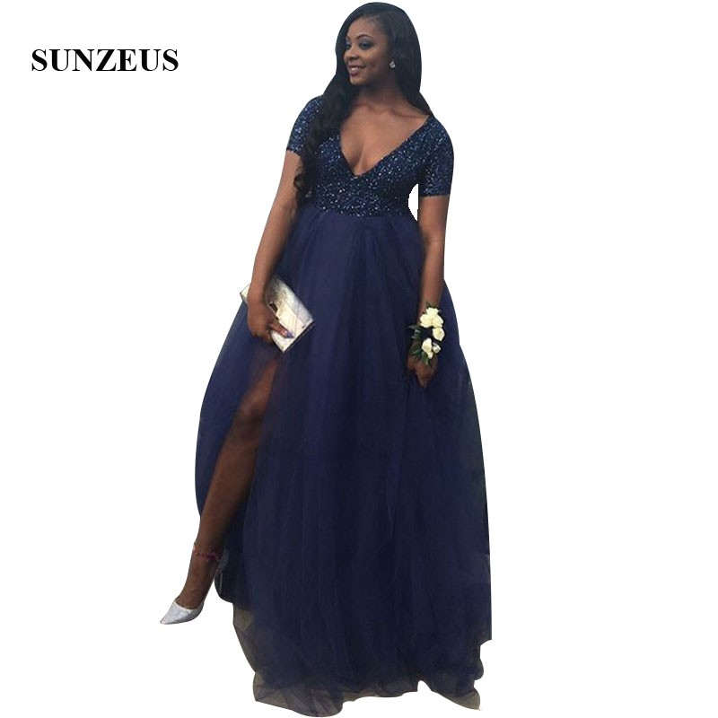 Tule Jurk Dames A-line V-neck Short Sleeves   Prom     Dress   Sequins Top Long Tulle Party Gowns Women Split Side Navy Blue Formal Wear