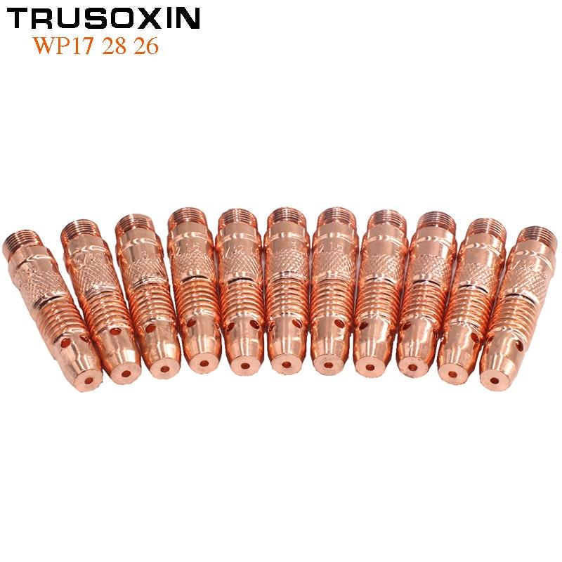 7 pçs ferramentas de soldagem acessórios tig inversor dc máquina de solda equipamentos soldador tig tungstênio collet corpo