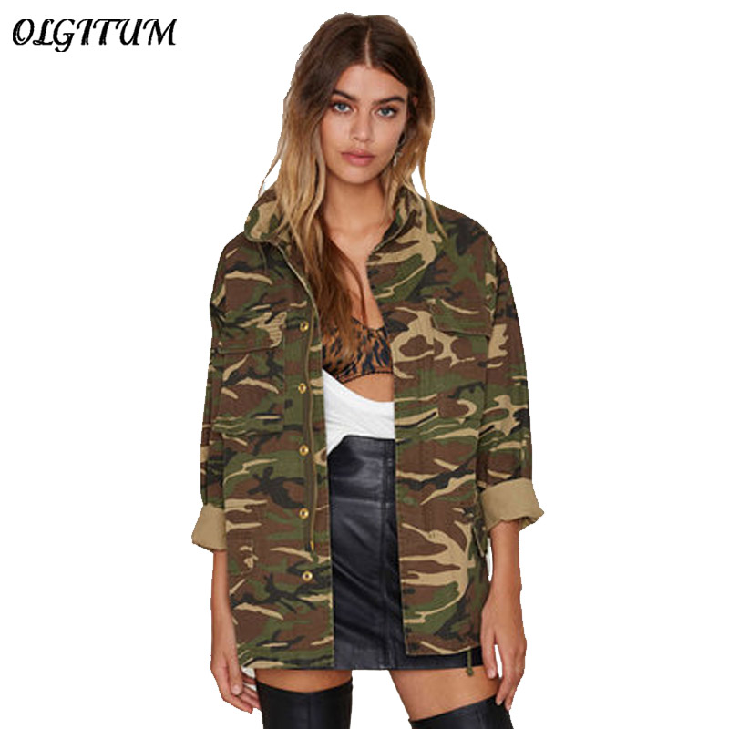 Spring Autumn New Women Jacket American Camouflage Jacket Military Fatigues Long Section Stand Neck Jacket With Button Zipper