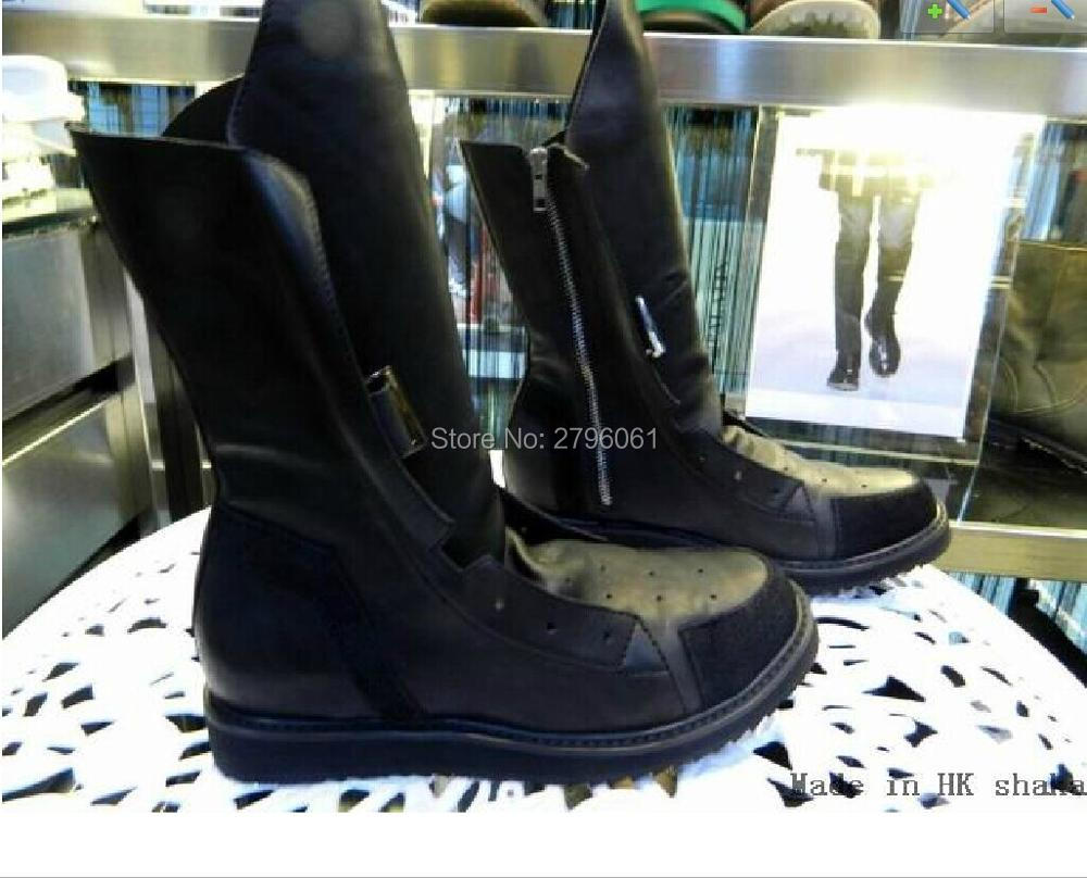Hot Selling Genuine Leather Custom Designer Brand Men Mid-calf Bottom Side Zipper Flats Boots Warm Winter Fashion Male Boots double buckle cross straps mid calf boots