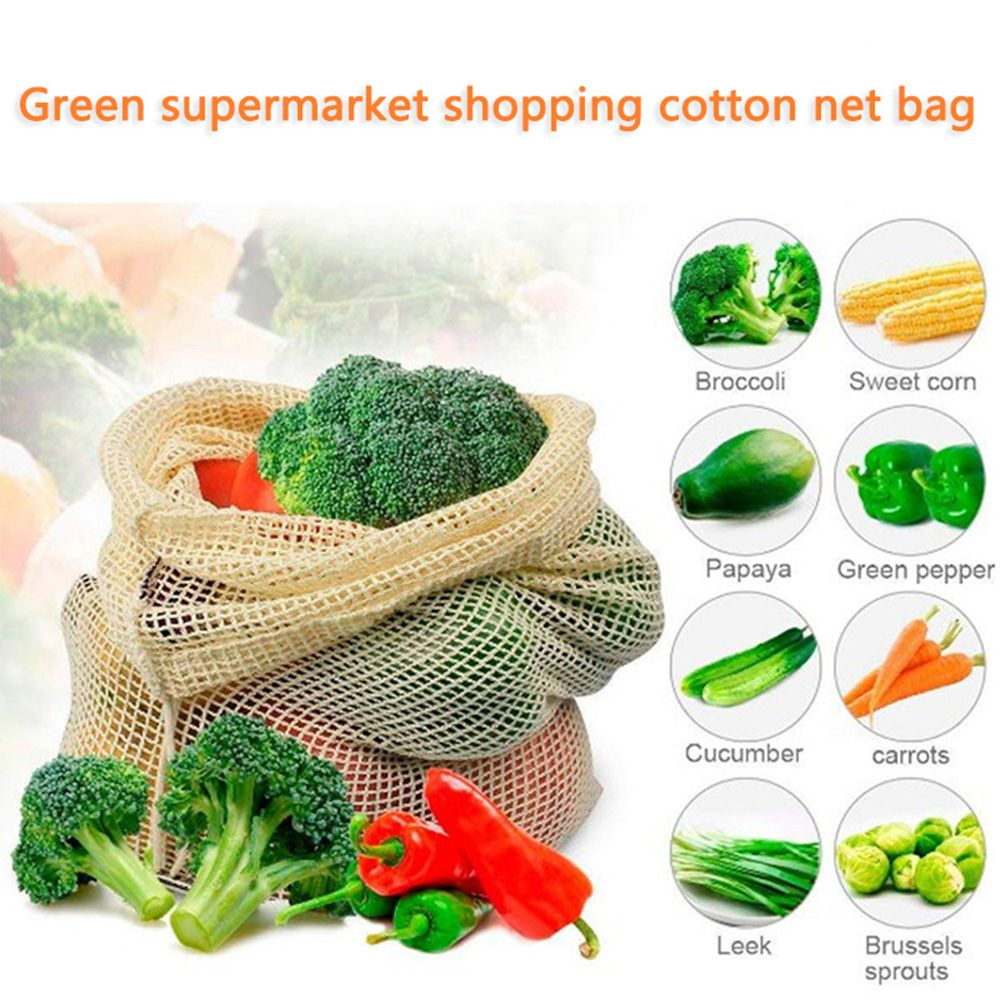 Reusable Fruit And Vegetable Bags Cotton Shopping Bag With Drawstring Home Kitchen Storage Mesh Bags Machine Washable