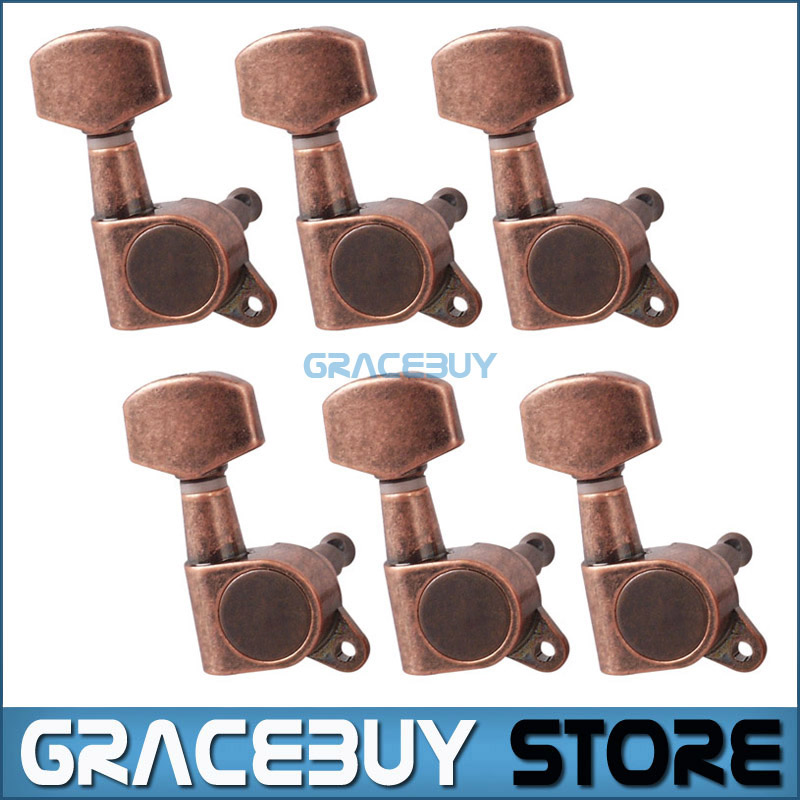 6R Guitar Machine Head Red Bronze String Tuning Pegs Tuners For Electric Acoustic Guitarra Musical Instrument New tooyful 6r locking button machine head tuning pegs tuners for electric guitar parts