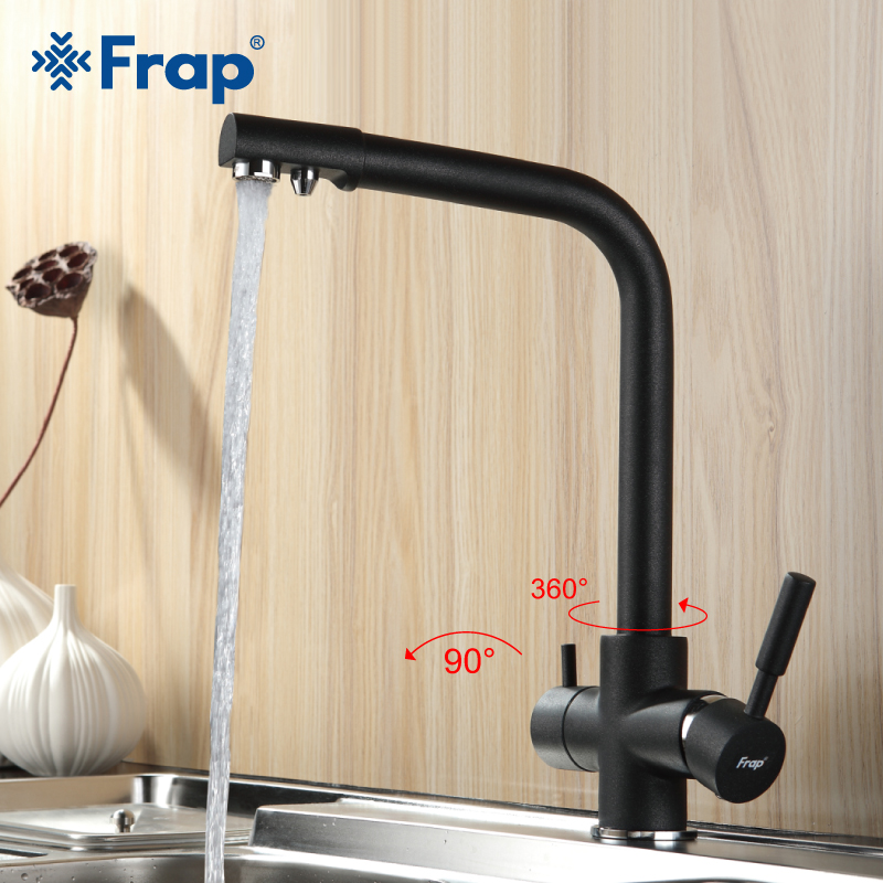 Frap New Black Kitchen sink Faucet Seven Letter cold and hot water mixer tap Rotation Water Purification Double Handle F4352-7