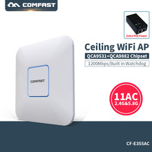 Потолочная беспроводная точка доступа COMFAST, 1200 м, Wi-Fi, 802.11ac, Qualcomm, 48 В