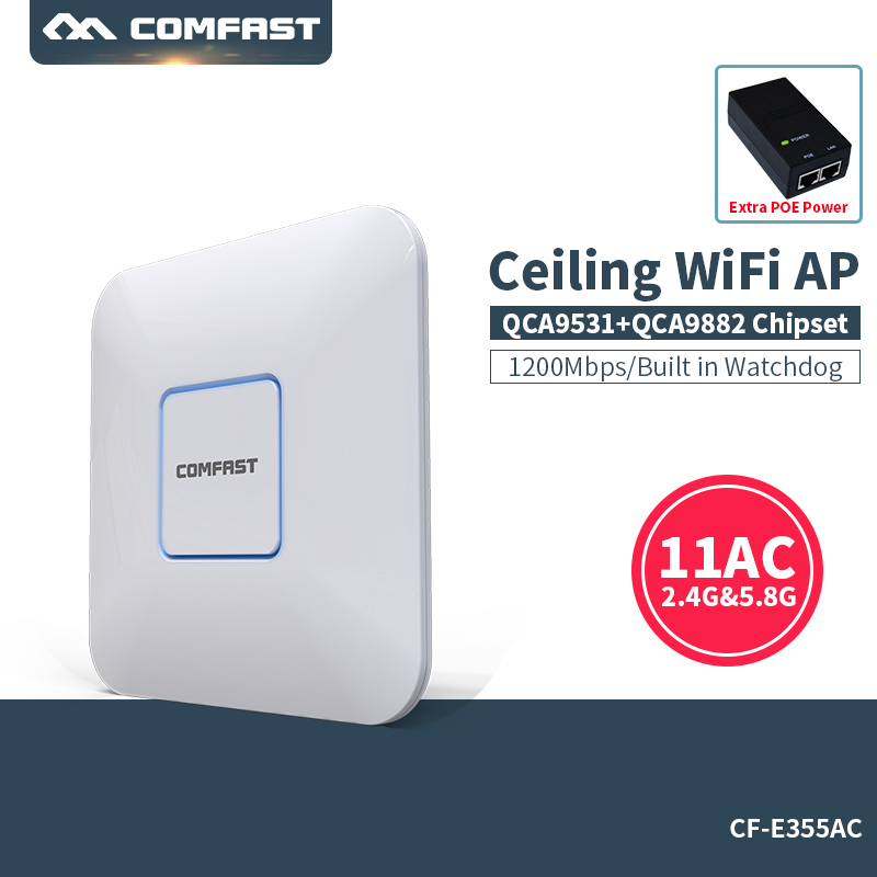 COMFAST 1200M WiFi Ceiling Wireless AP 802.11ac Qualcomm Indoor AP 48V Dual Band POE OPEN DDWRT Access Point wif router Bridge