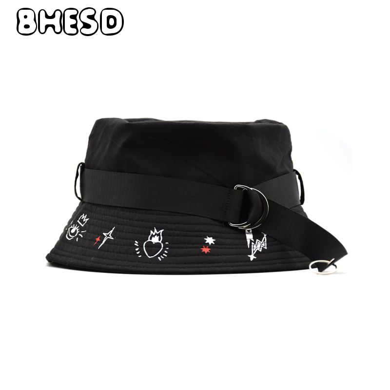 BHESD 2018 New Black Bucket Hat Men Cotton Hip Hop Panama Bob Hats Women 80s 90s  TopHeadwear Fishman Cap Casquettes Bones JY-680 3791e54113b