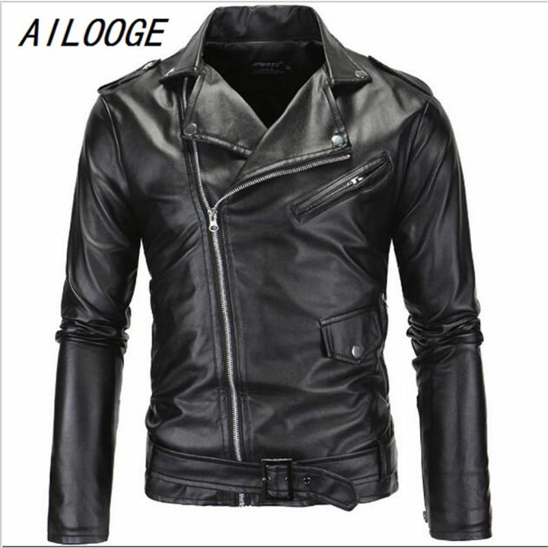 AILOOGE Hot 2017 Men's Autumn Winter Brand Rock Leather Jacket, Motorcycle Jacket, Men Leather Clothes Slim Mens Leather Jacket