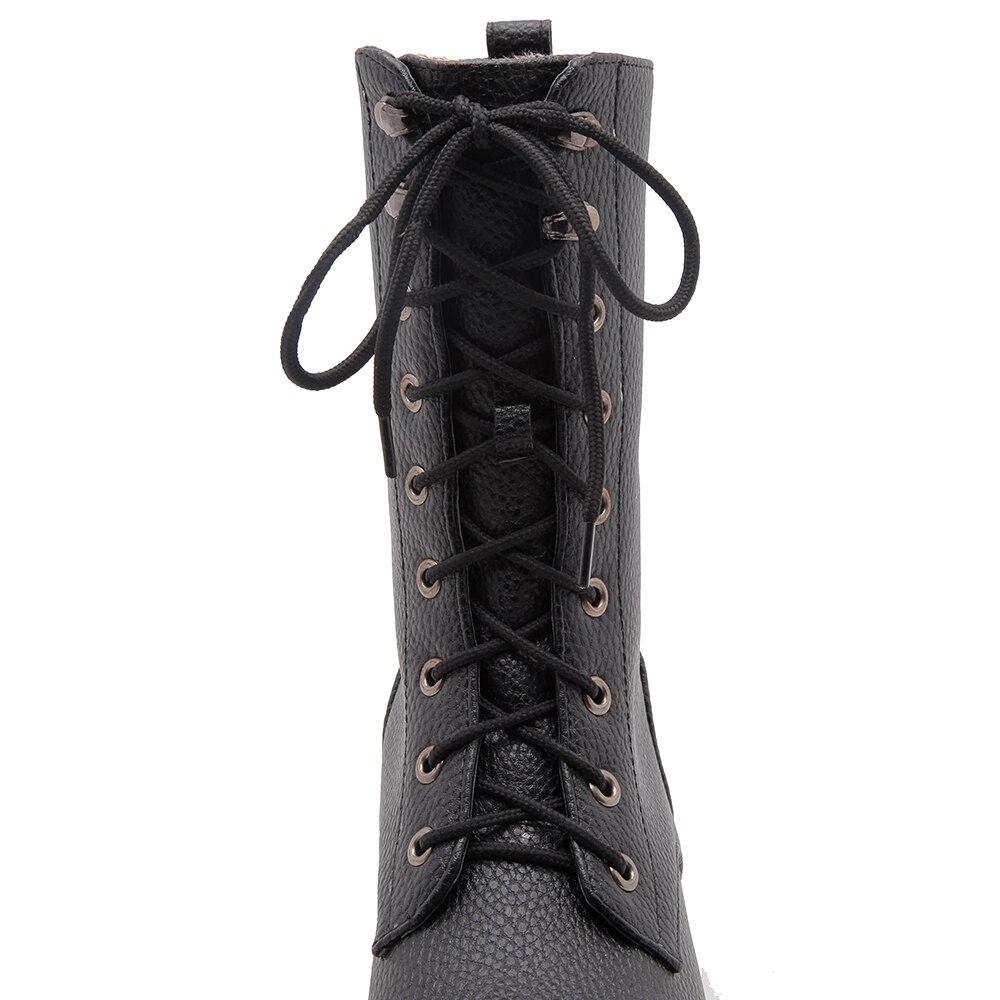 Dames Noir Femmes Cheville Hiver Pour Moto Chaussures Femme Bottes Faible Noir Plate forme Lacent Blanc blanc Cdpundari Talon q8pgqB