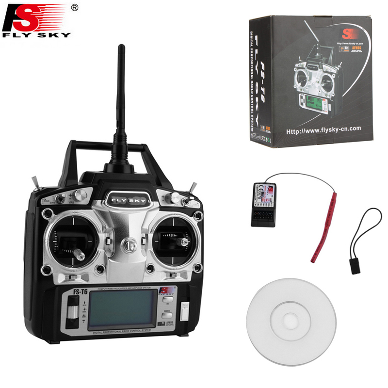 Original Flysky FS-T6 FS T6 6ch 2.4g w/ LCD Screen Transmitter + FS R6B Receiver for RC Quadcopter Helicopter wholesale 2pcs lot flysky fs i6 2 4g 6ch transmitter and receiver system lcd screen for rc helicopter quadcopter drone vs fs t6