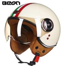 цена на BEON Men Women Motorcycle Helmet Chopper 3/4 Open Face Vintage Helmet Moto Casque Casco Capacete  Scooter Motorbike Helmet