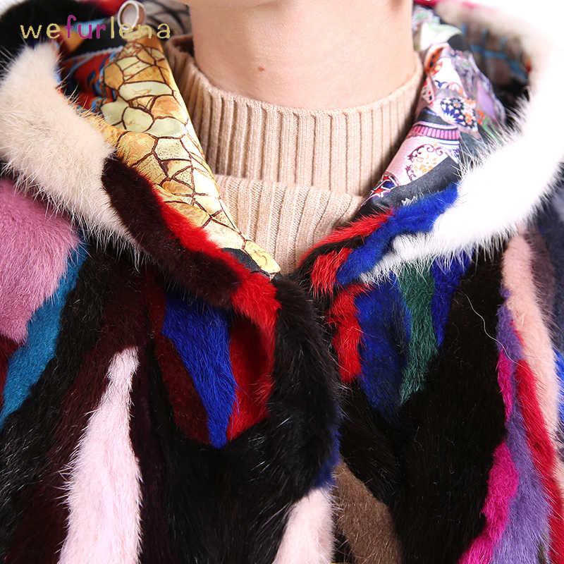 Renkli Vizon Kürk Ceket ile Kapüşonlu Gerçek Doğal Hakiki Vizon Kürk Kollu 60 cm Yelekler Kış Ceket Yeni Kürk Yelek kadınlar için