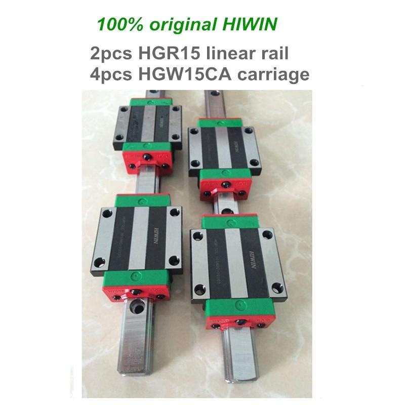 2 pcs HIWIN linear guide HGR15 - 1100 1200 1500 mm Linear rail with 4 pcs HGW15CA linear bearing blocks for CNC parts цена и фото