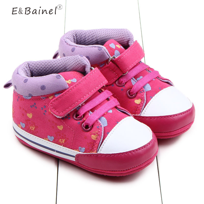 Infant Baby Girls Print Rose Soft Sole Cotton First Walkers Canvas Crib Shoes For 0-18 Months