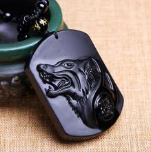 Drop Shipping Black Obsidian Carving Wolf Head Obdidian Amulet pendant free necklace obsidian Blessing Lucky pendant Men Jewelry obsidian necklace natural stone wolf head pendant buddha guardian ball chain carving amulet with obsidian blessing lucky jewelry