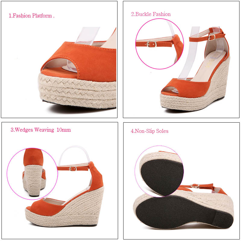 Punta Superior Sandalias Abierta Plataforma Plus Alta Calidad Señora Cuñas Zapatos Chanclas Bohemias Cómodas orange black White Mujer 2018 Estilo Verano De 65Sq8