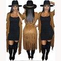 2016 nuevas mujeres del otoño Moda mujer otoño invierno Trench Coat FAUX SUEDE Femme Largo partido del club slimsexy Longitud Abrigo de la borla