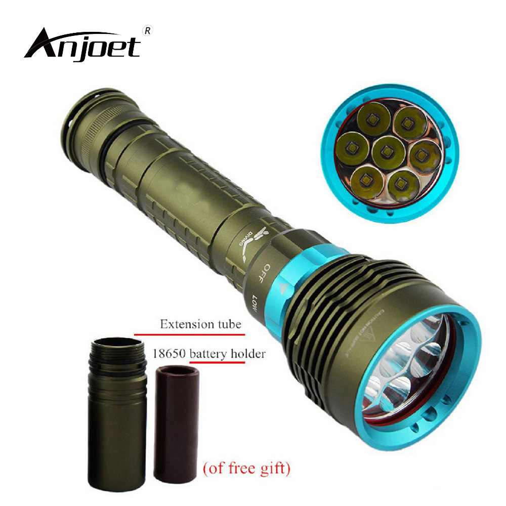 цена ANJOET Underwater Diving LED Flashlight 12000LM XM-7*T6 L2 Diver torches for 3x18650 or 26650 battery Camping hiking lighting