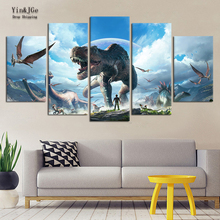 Home Wall Art Canvas Painting Frame 5 Pieces Jurassic Park Dinosaurs Picture Living Room Hd Prints Animal Poster
