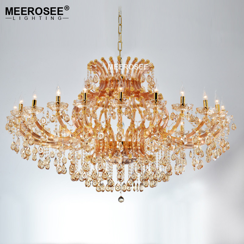 Projct Lamp Grote Luxe Amber Kristallen Kroonluchter Verlichting ...