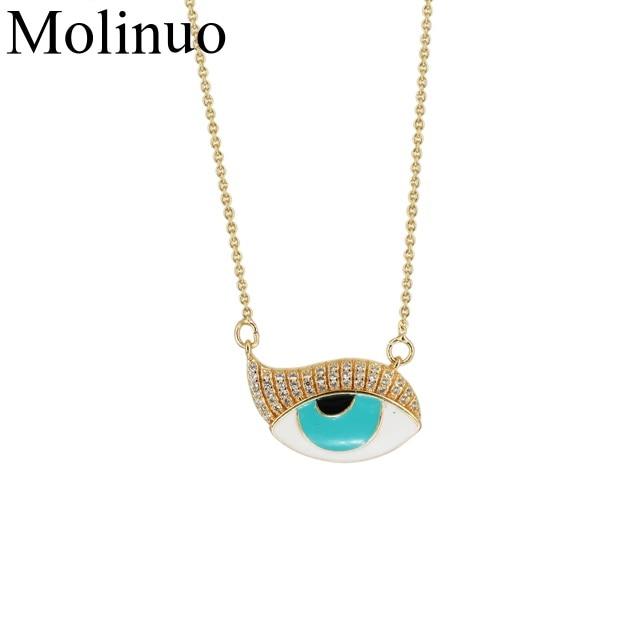 wholesale factory price  Pave CZ Stone blue evil eye charm pendant fashion gold rose color women necklace