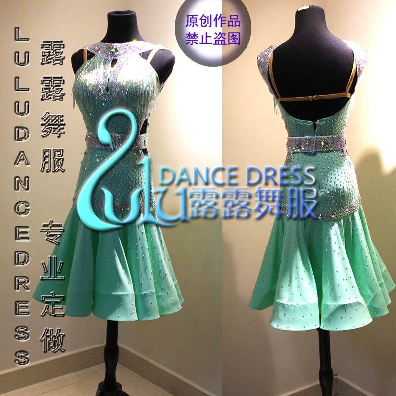 Femmes Salle De Bal Salsa Rhythm Latine Rumba Robe De Danse NOUS 10 ROYAUME-UNI 12 Menthe Poivrée Vert de danse latine robe de danse