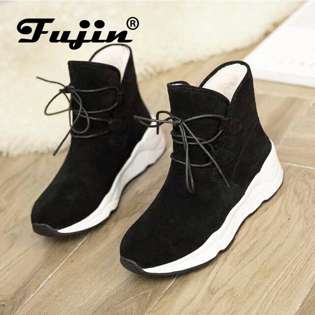 Fujin/Брендовые женские ботинки, осенне-зимние теплые ботильоны на шнуровке, удобные зимние женские ботинки