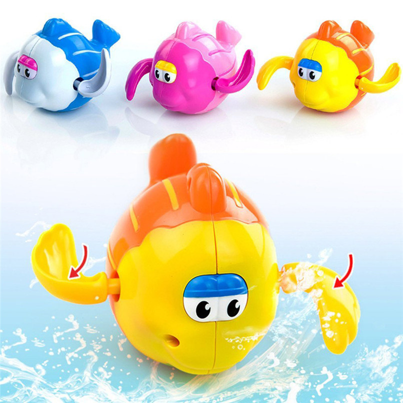 Dabbling Toy Random Color Cartoon Plastic Fish Model Toy Wind Up Clockwork Toy Baby Bath Shower Toys suit for tub or pool JE08