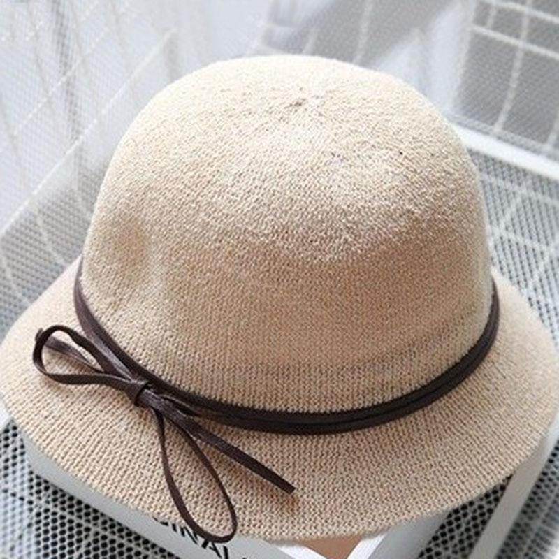 2019 Women Casual Panama Hat Female Breathable Summer Beach UV Protection Hat Flat Brim Bowknot Straw Cap Girls Sun Hat Chapeau