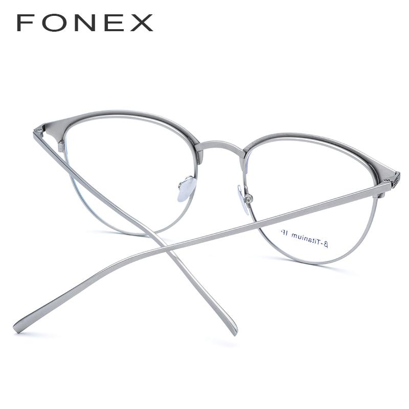 FONEX pur B titane lunettes cadre hommes rond Prescription lunettes myopie optique lunettes lunettes avec céramique nez Pad - 4