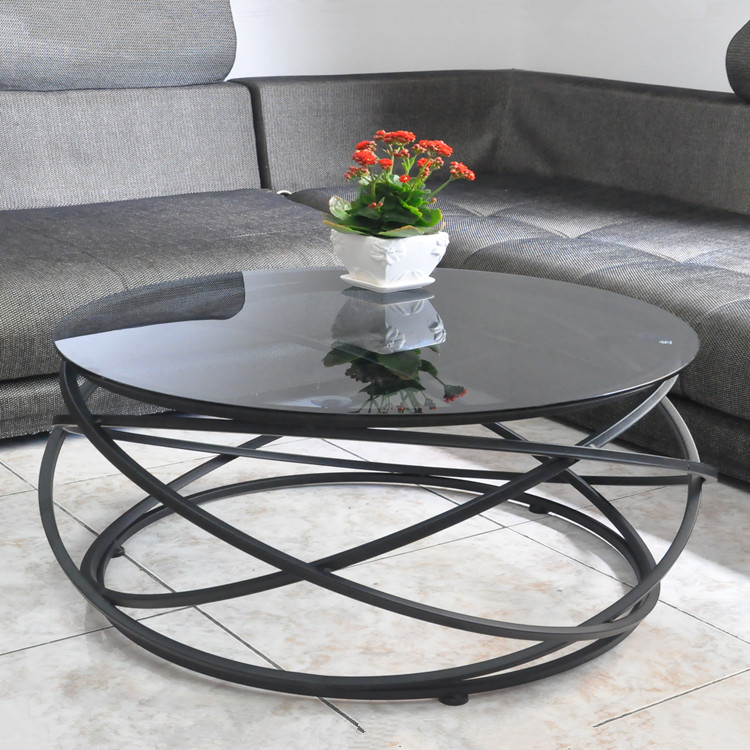 Toughened glass tea table The creative circle wrought iron table