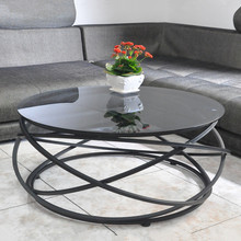 Toughened glass tea table. The creative circle, wrought iron table.