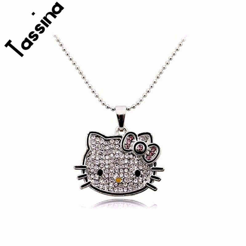 Tassina  2017 New  Silver Color Korea Crystal Cute hello kitty Cat Necklaces Pendants Fashion Jewelry for women MKZ268